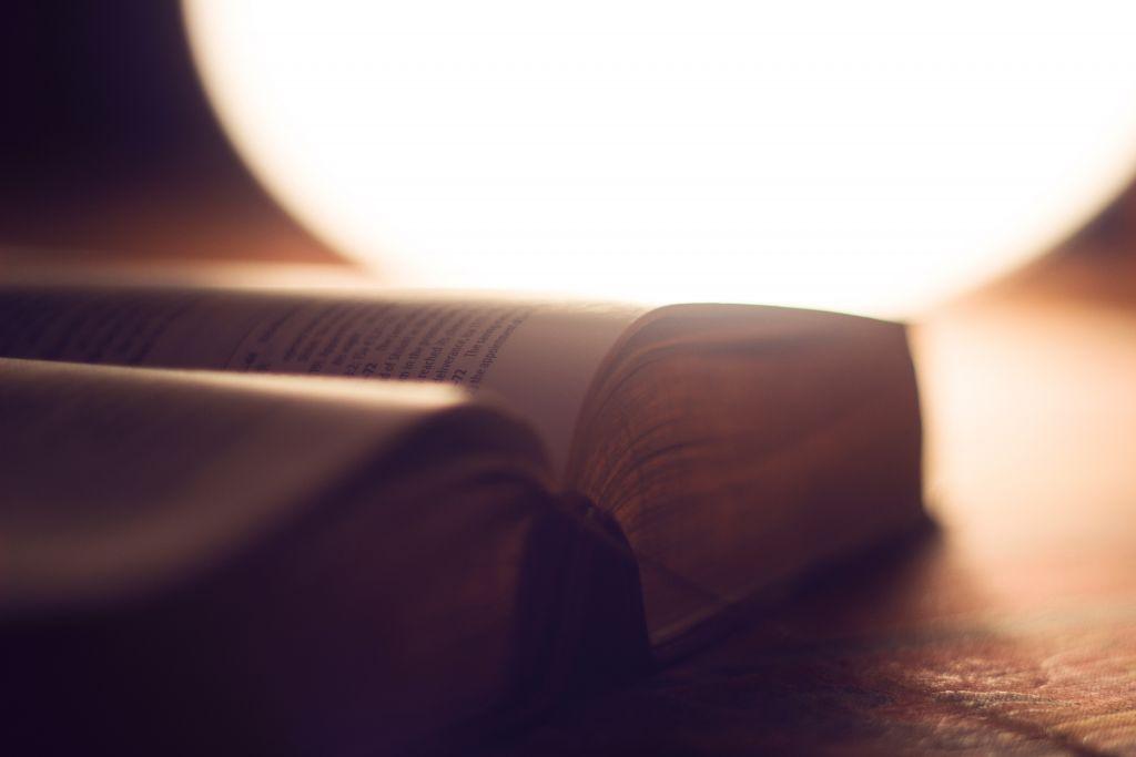 Kuvassa avonainen Raamattu
